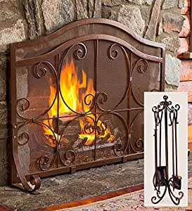 Amazon Com Plow Amp Hearth Small Crest Flat Guard Fireplace