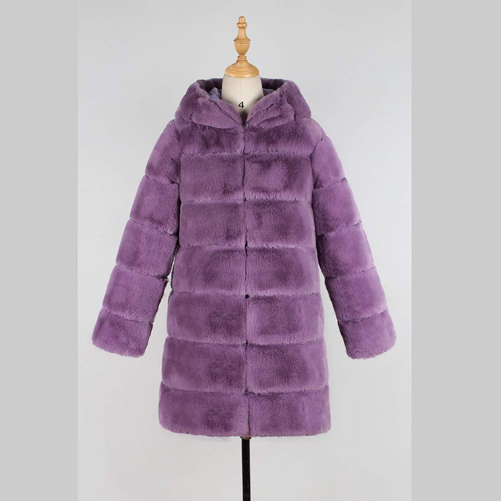 HARRYSTORE Womens Warm Faux Fur Fluffy Coat Parka Jacket Winter Hooded Jacket Cape Poncho Thick Hoodies Solid Outerwear