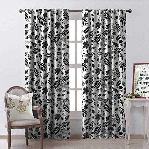 GloriaJohnson Leaves 99% Blackout Curtains Autumn Season in The Woods Themed Monochrome Pattern Deciduous Trees Maple Oak for Bedroom Kindergarten Living Room W42 x L90 Inch Black White