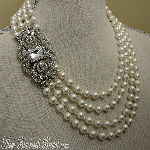 Great Gatsby Pearl Statement Necklace with Brooch Art Deco style wedding jewelry set with 4 multi strand Swarovski Crystal pearls and rhinestone. Earrings included handmade by Alexi Blackwell Bridal