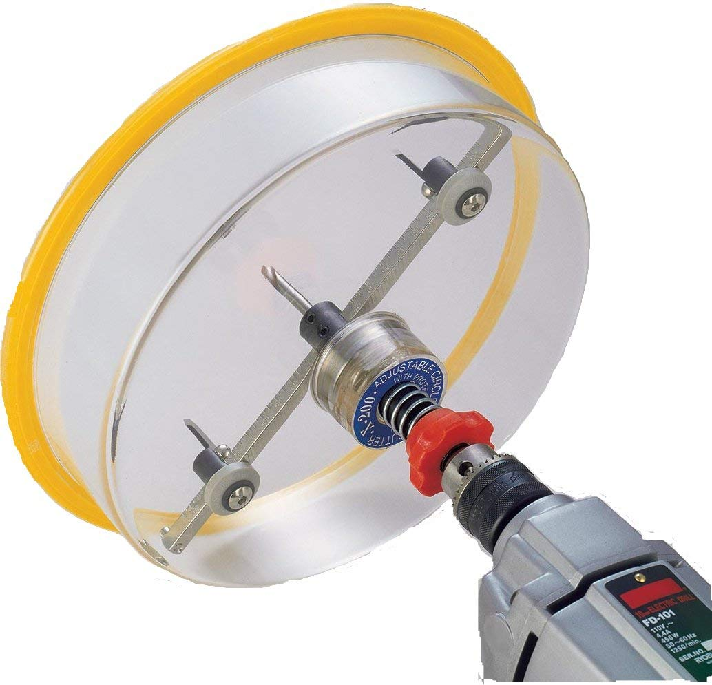 HolePro T-200 1-5/8'' to 8'' Adjustable Hole Cutter for Recessed Lights Speakers. Twin High Speed Steel HSS Blades use ¼ Drill Power of a Hole Saw to Cut Sheetrock Plastic Soft-woods NO PLYWOOD/PLASTER