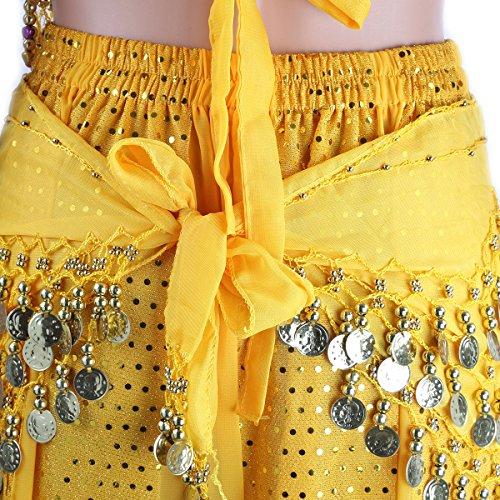 pieces et suspendues Haut mousseline Chest de short Bells Pantalons indienne des ceinture taille soie Belly SymbolLife Bandage de Avec en danse Femmes Jaune Pad xWAq1B