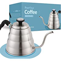 Gooseneck Pour Over Coffee Kettle - Stainless Steel Hand Drip Tea and Coffee Kettle With Built-In Thermometer for…