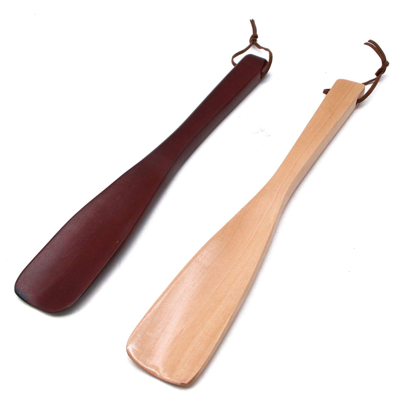 JETEHO 2pcs Long Handled Wood Shoe Horn Horn 10inch Wood Shoehorn for Men Women Kids Seniors