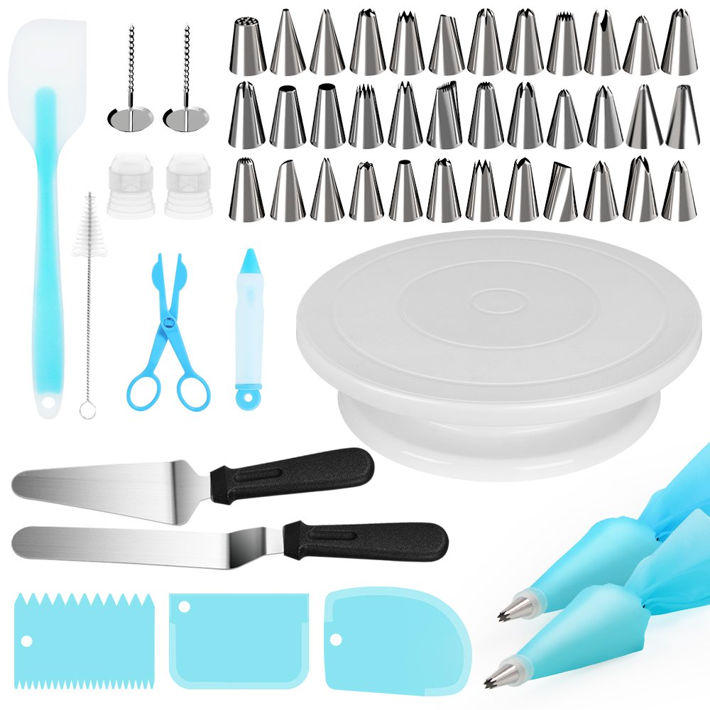 Puroma 11 Inch Rotating Cake Turntable, 52 Pcs Stand Spinner Baking Decorating Supplies with 36 PCS Icing Tips, 3 Icing Smoother, 2 Reusable Pastry Bags, Cake Server and More Accessories (Blue)