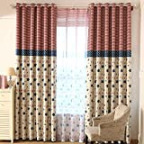 Top Finel Printed Thermal Insulated Blackout Window Treatment Eyelet Curtains for Children Bedroom,Beige with Star Striped Pattern 54' Width X 63' Drop,1 Pair