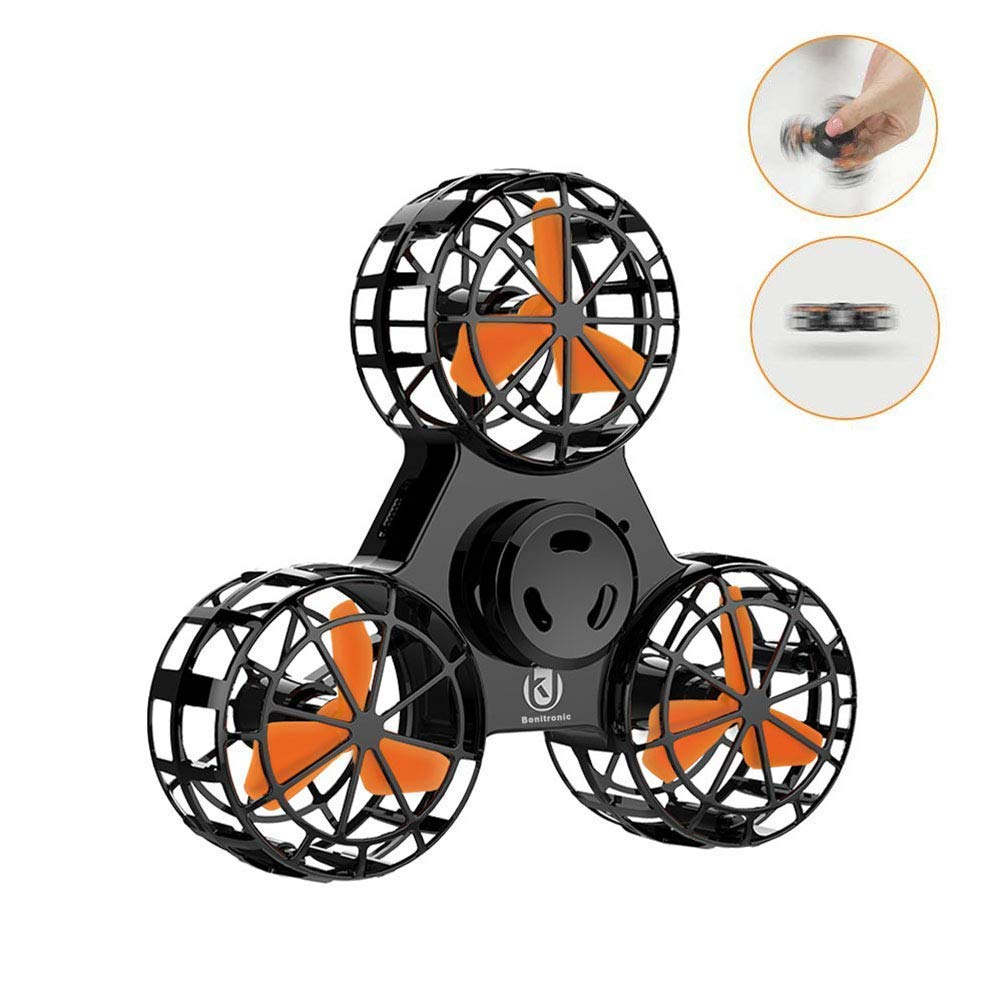 ROHSCE Novelty Tiny Flying Drone Toys, ADHD Relieving Reducer 4 Mode Playing Optional Fidget Rotation Triangle Toys Funny Drone Interactive Games for Kids Adults (Black)