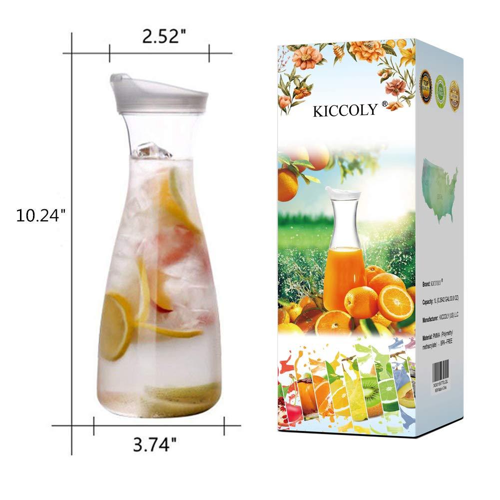 ✅Pitcher Carafes with Lid for Juice 34 oz Plastic Carafe with Lid for Juice with Lid Decanter Drink Bottle 1 Liter Pitcher Beverage Container Kettle Carafes for Juice Plastic