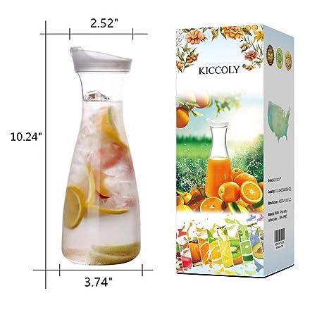 Jarra de jarra con tapa para jugo, 34 oz Jarra de plástico con tapa para jugo con tapa Decantador Botella De Bebida 1 Litro Contenedor de bebidas de ...