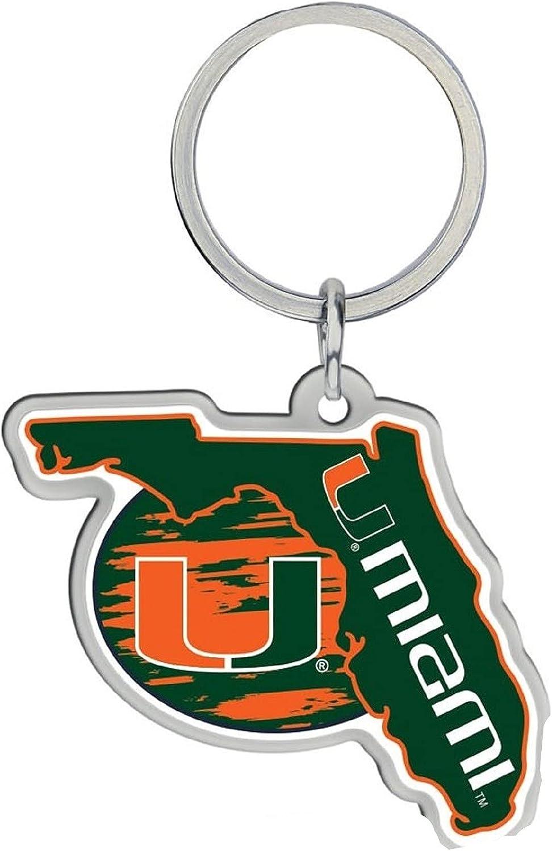 Miami Keychain Home State Shape Premium Metal Decal Emblem University of