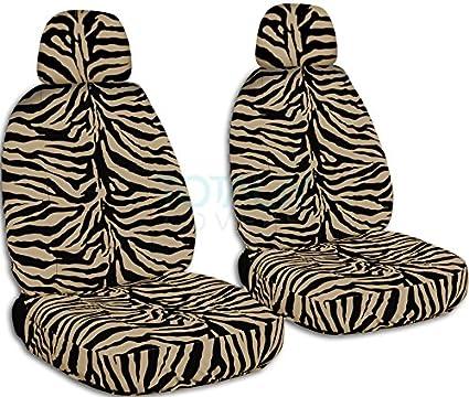 Animal Print Car Seat Covers W 2 Separate Headrest Tan Zebra