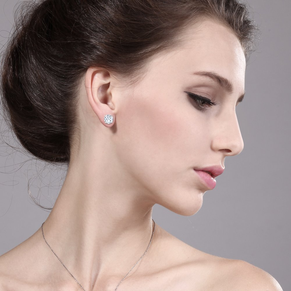 Charles& Colvard 3.00 ctw Round Moissanite Stud Earrings in 14K White Gold by Gem Stone King (Image #1)