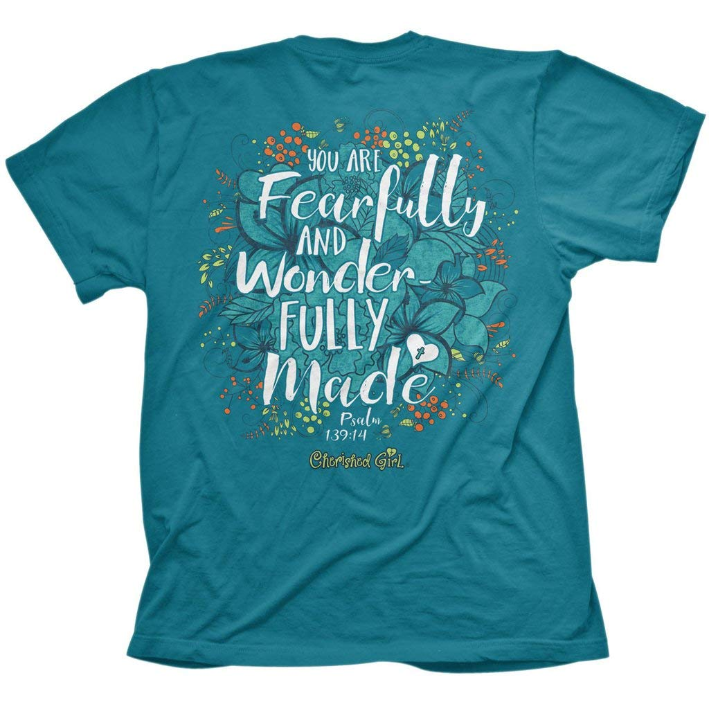 Cherished Girl Fearfully & Wonderfully Made T-Shirt for Women, Pacific Blue Flower Apparel Tee