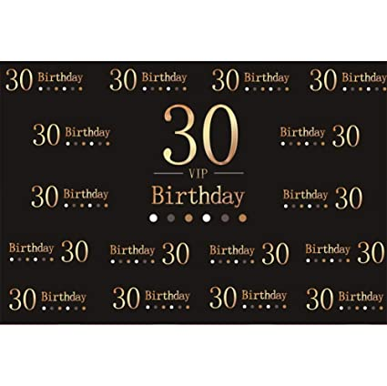 Cassisy 3x2m Vinilo Cumpleaños Telon de Fondo 30 cumpleaños Carta Carta de Oro Papel Pintado Negro Fondos para Fotografia Party Infantil Photo Studio ...