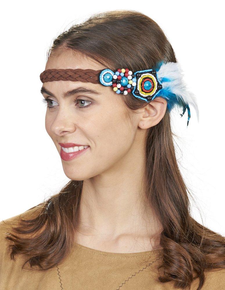 bf3ca1e0bbfd63 Türkis Stirnband mit Schmuckperlen und Federn Toller Kopfschmuck zu  Indianer Hippie Kostümen Karneval Festival Love and ...