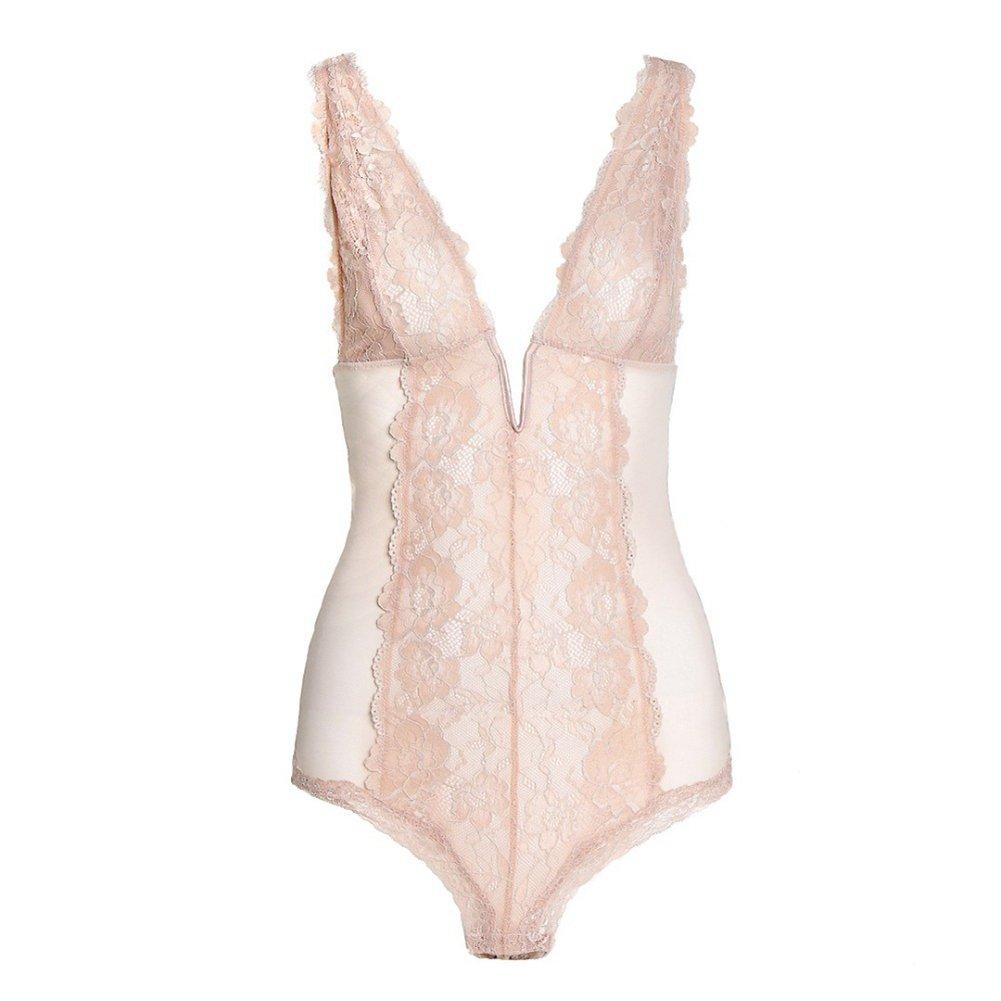 133f43b801 Amazon.com  UUGULO Sexy Deep V Yarn Jumpsuit Corset Women Lingerie Thin  Elastic Lace Transparent Bustier  Clothing