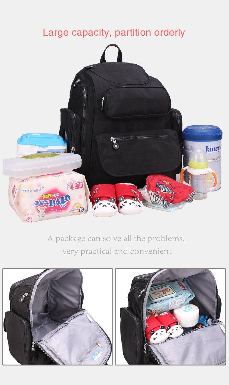 YuHan Oxford bebé bolsa de pañales pañal Mochila Gran Capacidad cambio Pad para cochecito negro negro: Amazon.es: Bebé