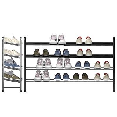 tzamli 4 tier free standing shoe rack metal iron of expandable and adjustable shoes organizer stackable shoe shelf for entryway doorway 24 41 x