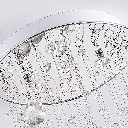 Modern K9 Raindrop Crystal Chandelier, Elegant Flush Mount 4 LED Ceiling Lighting Fixtures for Bedroom, Living Room, Bathroom, Hallway