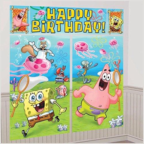 Defonia Spongebob Scene Setter Happy Birthday Party Wall Decoration Room Decor Backdrop -