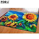 FOR U DESIGNS Welcome to House Rectangle Sunflower Design Funny Kitchen Bathroom Rug Carpet Doormat