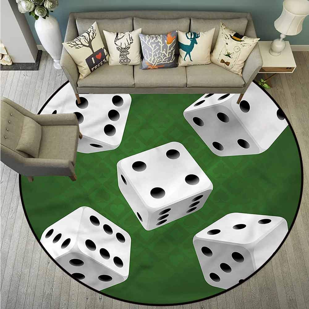 Bedroom Rugs,Modern,Casino Rolling Dice Set,with No-Slip Backing,4'7''