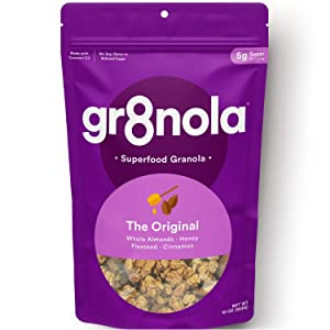 gr8nola THE ORIGINAL - Healthy, Low Sugar Granola Cereal - Made with Superfoods Whole Almonds, Honey, Cinnamon and Flaxseed