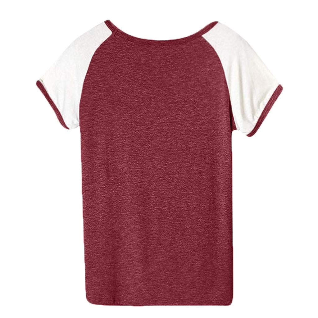 Rosennie Womens Tops Plus Size UK Summer Fashion Casual Short Sleeve Cotton Loose T Shirts Colorblocked