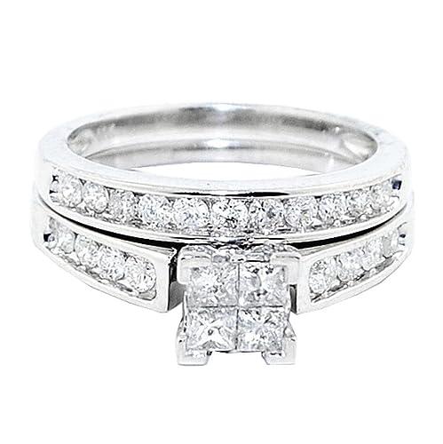 Set de 2 anillos de boda para Mujer, oro blanco de 10 K, Diamante