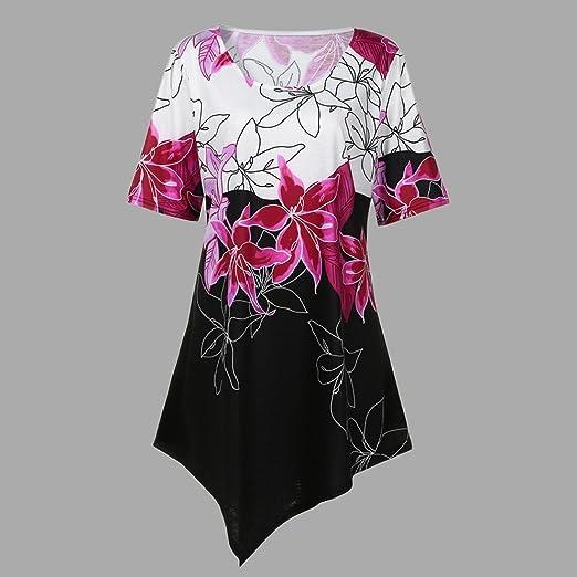 Large Flower Irregular Hipster Mujer Suelta Camisetas Divertidas Redondo ropa blusa Casual Para Estampar T-shirt Mujer Manga Corta,Ba Zha Hei: Amazon.es: ...