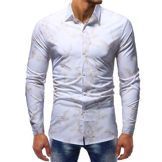 Hombre sudadera otoño floral impresión, ❤ SonnenaLa blusa superior de manga larga delgada ocasional de los hombres de la personalidad imprimió la blusa ...