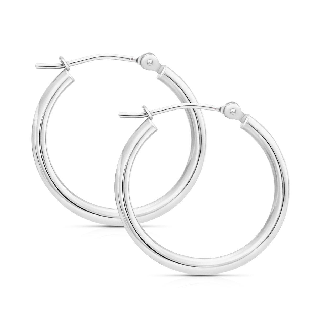14k Gold Classic Hoop Earrings, 0.6'' Diameter (white-gold)