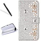 Galaxy J3 2016 Diamand Case,Bling Glitter Folio Case for Samsung J3 2016,Leeook Luxury Noble Sparkle Shining Silver Butterfly Flower Pattern PU Leather Wallet Flip Case in Book Style with Card Slots Cash Holder Stand Function Butterfly Magnetic Closure TPU Silicone Inner Protect Cover for Samsung Galaxy J3 2016 + 1 x Black Stylus