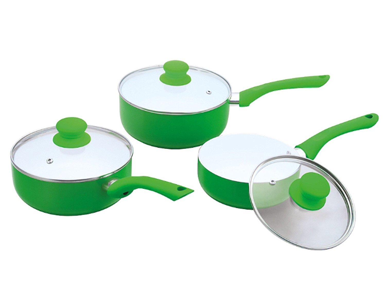 Green 18 cm and 20 cm in Black Green Purple or Red Ricco Ceramic Coated Saucepan set 3 pcs 16 cm