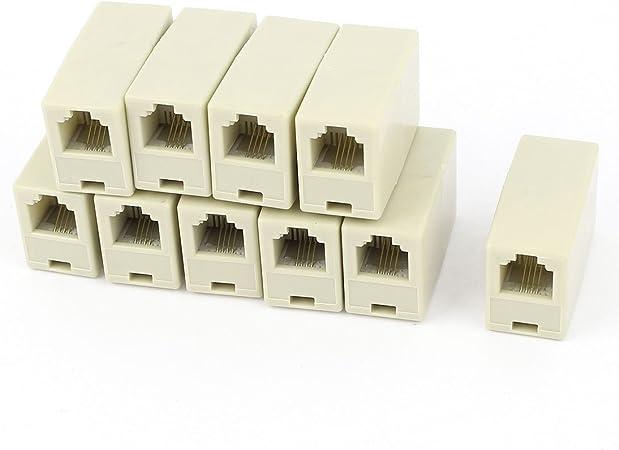 Sourcingmap/® 2 Piezas RJ11 6P4C Hembra a Hembra l/ínea telef/ónica Conector acoplador
