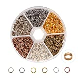 PandaHall Elite 1 Box 6 Colors About 1300 Pcs Iron Plated Jump Rings Unsoldered 7mm Diameter Wire 21-Gauge Jewelry Making Findings