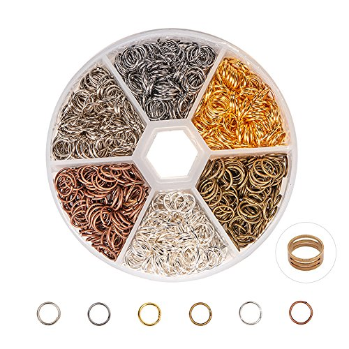 - PandaHall Elite About 1300 Pcs Iron Open Jump Rings O Ring Unsoldered Diameter 7mm Wire 21-Gauge 6 Colors for Jewelry Findings