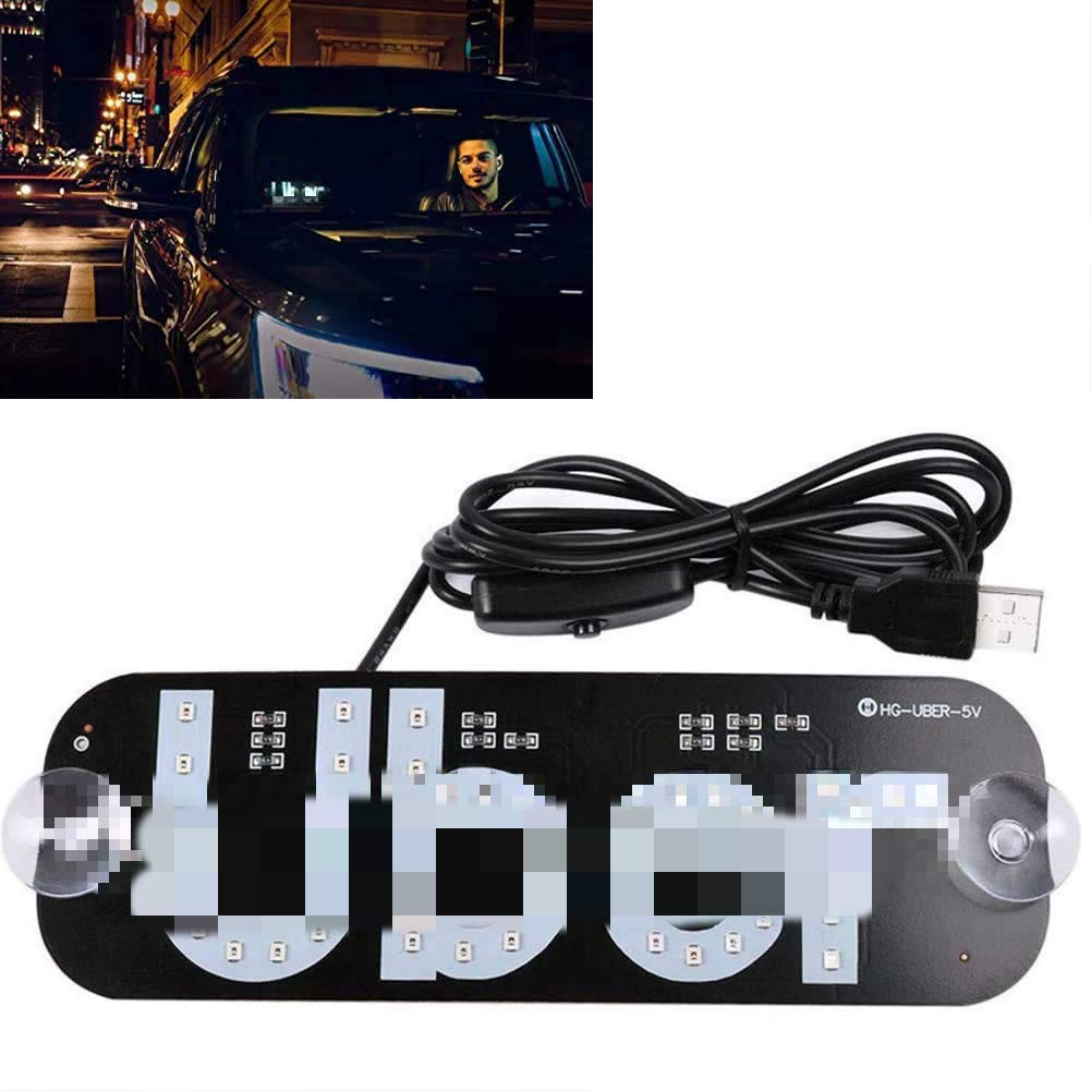 white LED USB Sign Light White Glow Sign Decal Stickers with Suction Cups Flashing Hook on Car Window with DC12V Car USB Socket