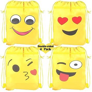 9445ffcd7179 Amazon.com  Emoji Drawstring Shoulder Backpack Bags Bulk for Kids ...