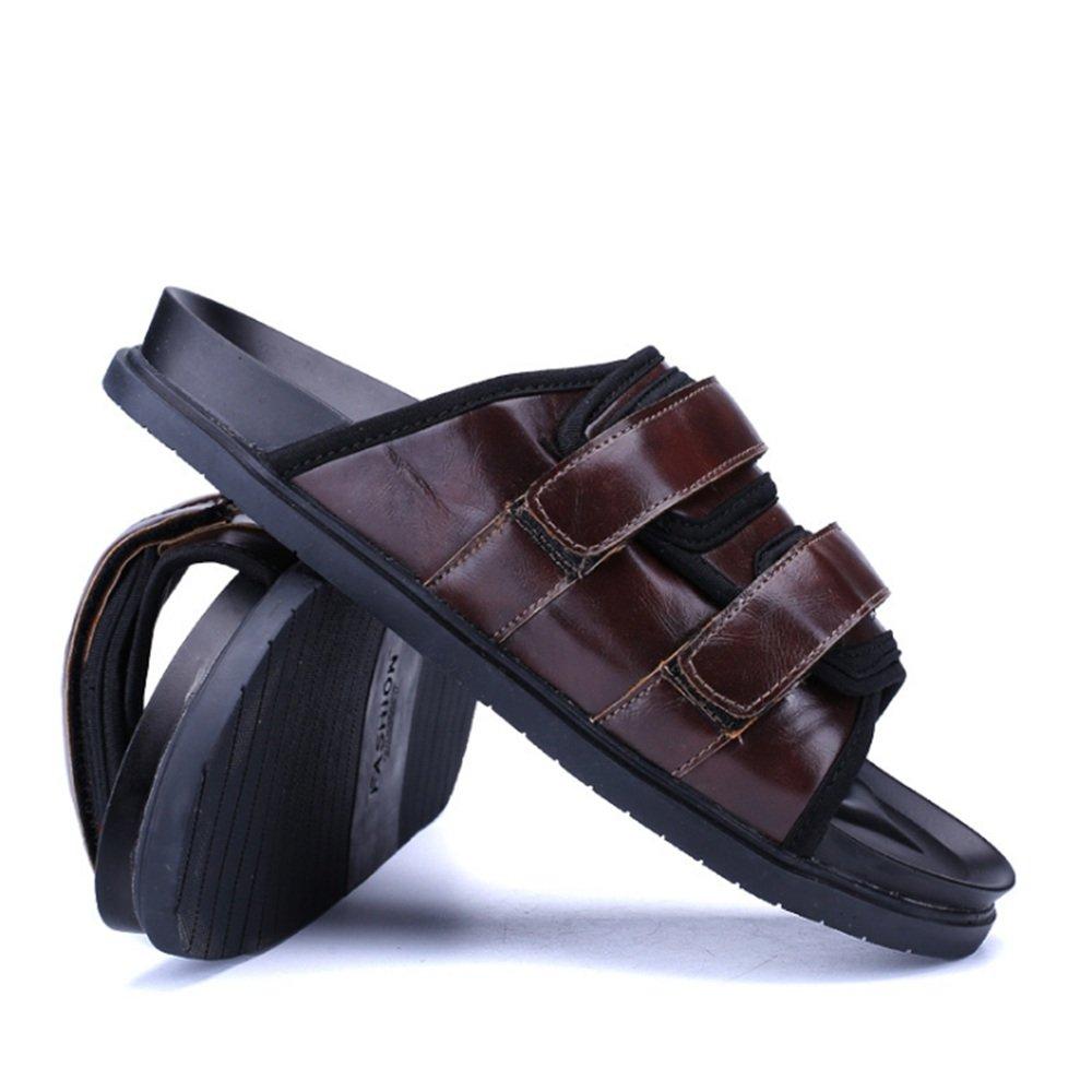 Wagsiyi Hausschuhe Herrenschuhe Outdoor Casual Lederschuhe Anti-Rutsch-Breathable Hausschuhe Größe Strandschuhe (Farbe : Schwarz, Größe Hausschuhe : 40 2/3 EU) Braun 3c2c80
