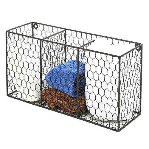 3 Compartment Rustic Chicken Wire Kitchen Utensil Holder