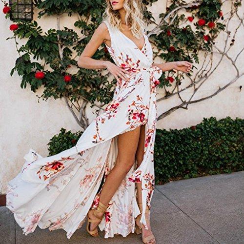 Ankle Length Double Dress Deep up Alimao Lace V Maxi Sexy White Sleeveless Split Neck Printed Women qwwTzO7