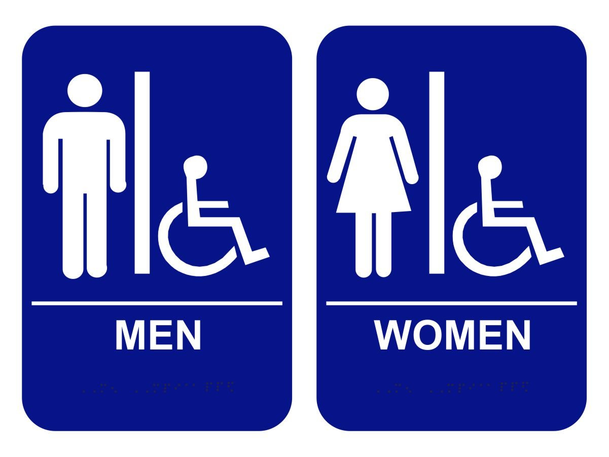 Amazon com  Men   Women s Handicap Restroom Sign Set with Braille   Blue   Office Products. Amazon com  Men   Women s Handicap Restroom Sign Set with Braille