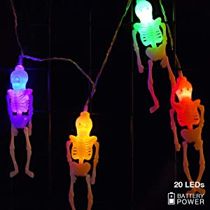 Halloween Lights Decorations Halloween Skeleton Skull String Lights, 10ft 20 LEDs Battery Operated Colorful Fairy Lights for Halloween Indoor/Outdoor Decor