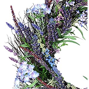 Ten Waterloo 24 Inch Lavender and Lilac Spring Mixed Flower Wreath on Natural Twig Base - Artificial Spring Wreath 2