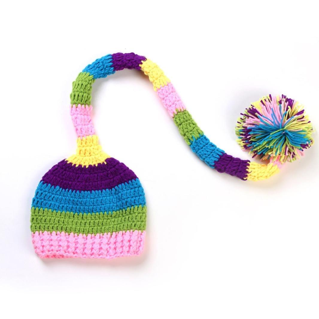Tefamore Sombrero bebé recién nacido linda de cola larga gorras de punto traje de Fotografía Prop Morado) Tefamore 001