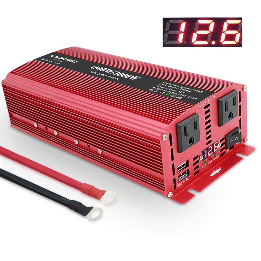 LVYUAN 1500W/3000W Power Inverter Dual AC Outlets and Dual USB Charging Ports DC 12V to 110V AC Car 12V Inverter Converter with Digital Display 4 External 40A Fuses for Blenders, vacuums, Power Tools by LVYUAN