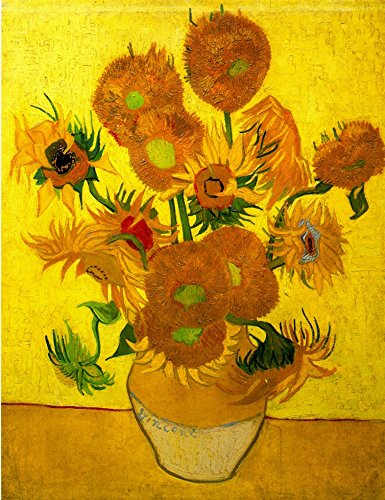 Wieco Art Abstract Flowers Giclee Canvas Prints Wall Art Vase with Fifteen Sunflowers by Van Gogh Classic Oil Paintings Reproduction for Home Decor Modern Stretched and Framed Floral Picture Artwork