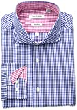 Isaac Mizrahi Mens Slim Fit Classic Gingham Cut Away Collar Dress Shirt