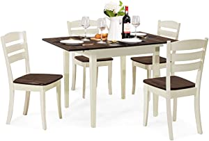 Giantex 5 Pcs Dining Table Set, Folding and Extendable Tabletop, Wood Kitchen Table Set with 4 Chairs, Modern Home Furniture for Family (Walnut & Milky White)
